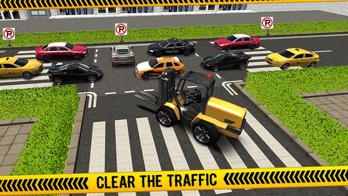 Police Forklift vs Car Traffic