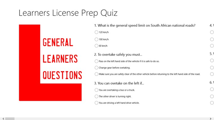 Learners Licence Quiz app General Questions