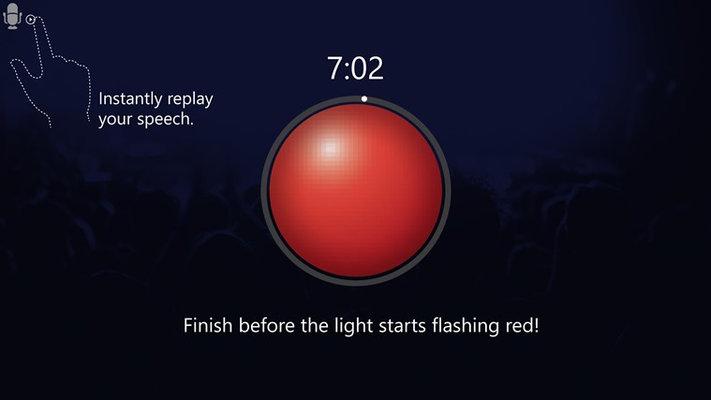 If you're still speaking when the light turns red, shorten your speech and try again!  * this is a screenshot of a help page within the app