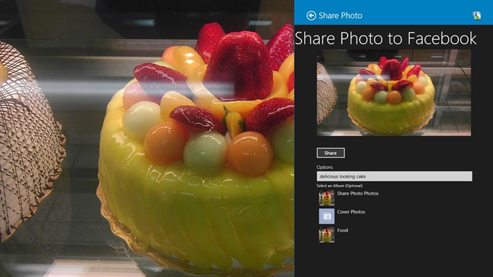 Optionally specify a caption and album for the photo