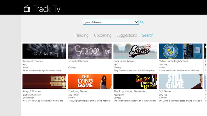 Search for Tv Show, Season, Series, etc Click on the response to view Details