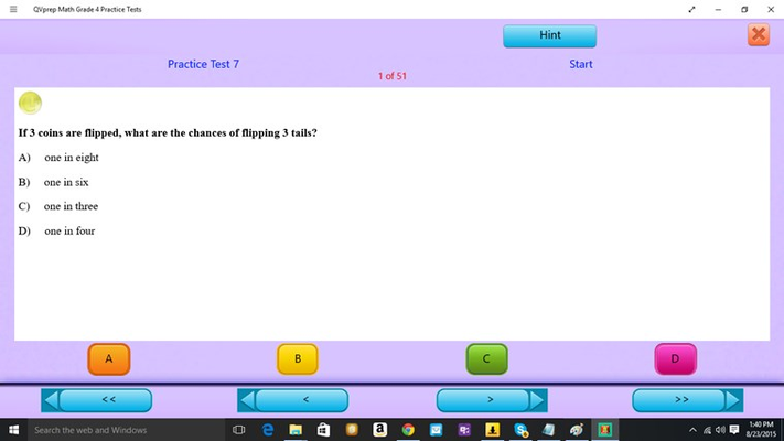 QVprep Math Grade 4 Practice Tests for Windows 8