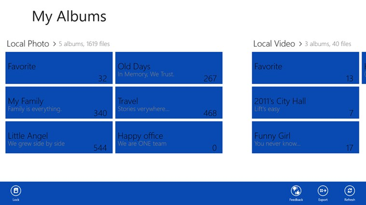 Home page, overview of your collections.
