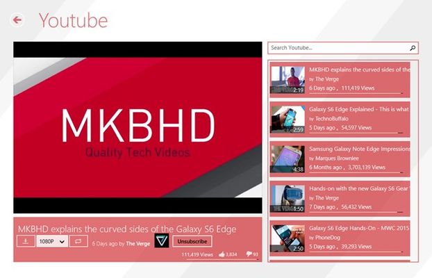 A video page. From here you can subscribe to a channel, download a video(even straight from the list by using the context menu)