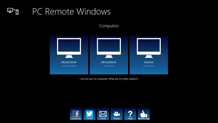 Select Computers, review and join Facebook or Twitter