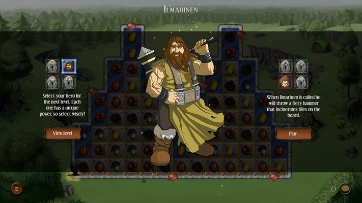 Use the powers of fabled Kalevalan heroes to aid in completing levels.