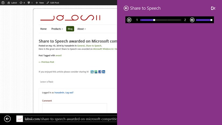Listen to the speech from the share interface