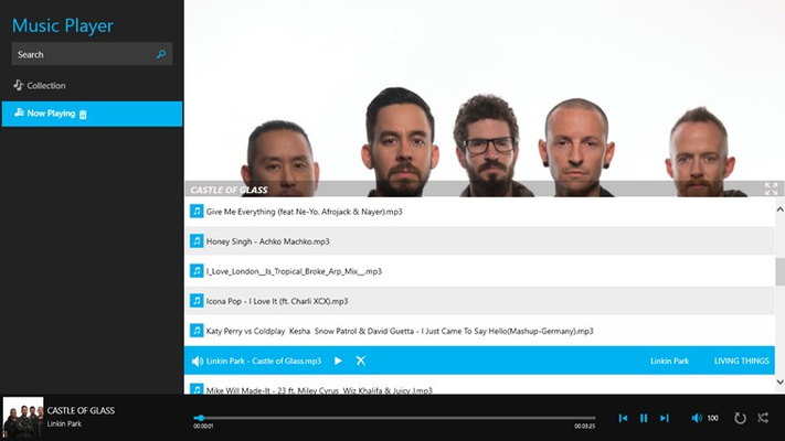 Music player, If the music file has metadata about artist, then a slideshow of the corresponding artist will be played