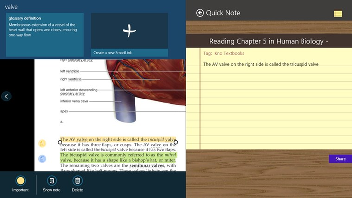Share. Students can share information with any application that supports the Share Charm.