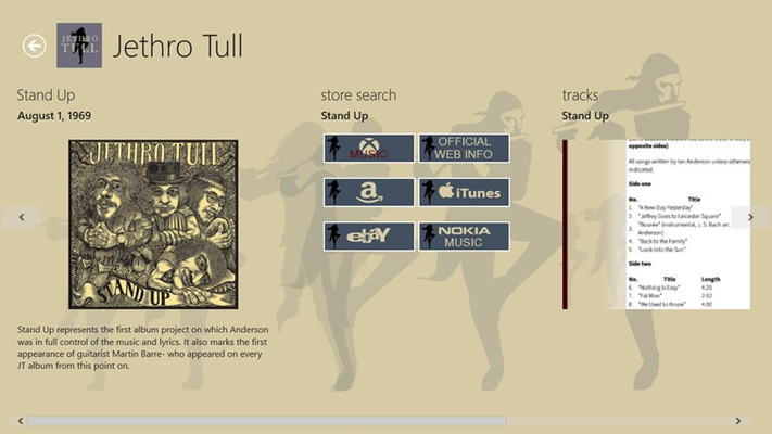 Discography details including store search with direct deep links to Xbox Music and iTunes