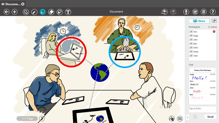 Simultaneous team document sharing to collaborate