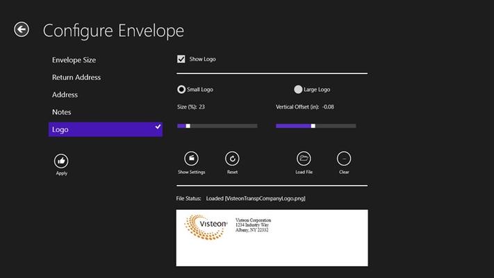 Logo adjustment in Configure Envelope page