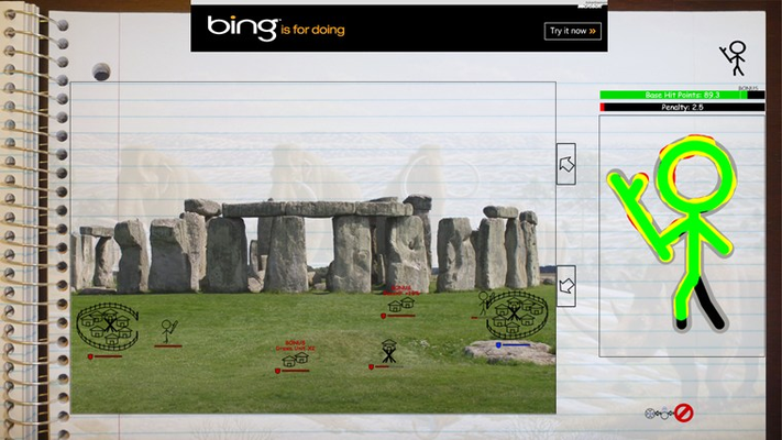 First level: Caveman battling around Stonehenge.