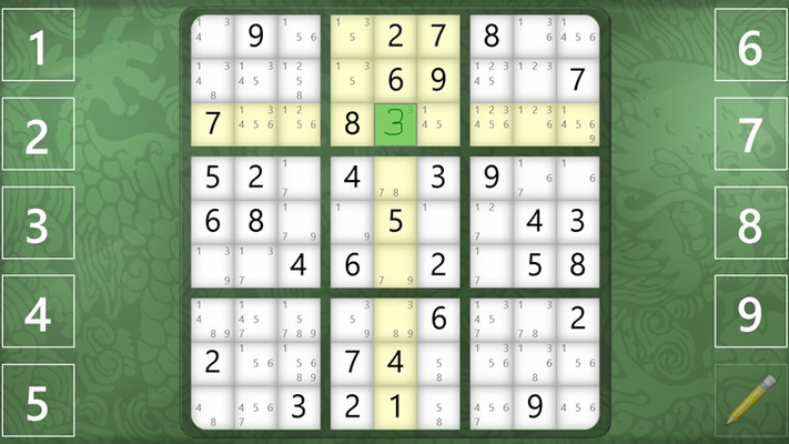 Solve your puzzle by inputting answers and notes using touch (using number buttons or by inking), pen, mouse, and/or keyboard.
