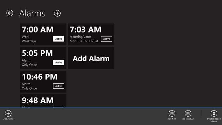 Organize, re-order, delete, and add new alarms