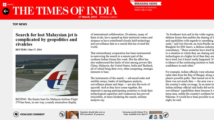 The Times of India for Windows 8