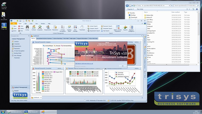 The TriSys Recruitment Software application running in the windows remote desktop.