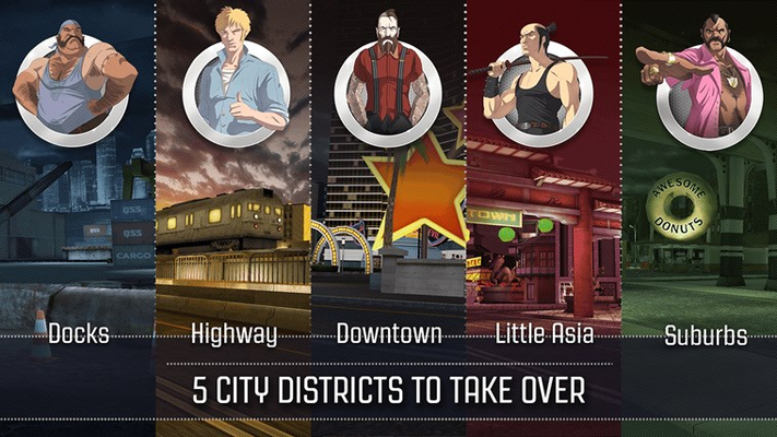 Drive in 5 city districts, each with its own unique theme and gang crew