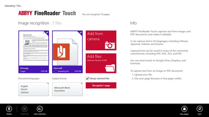 Upload images of documents from other Windows 8 applications.
