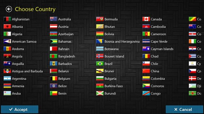Choosing your country