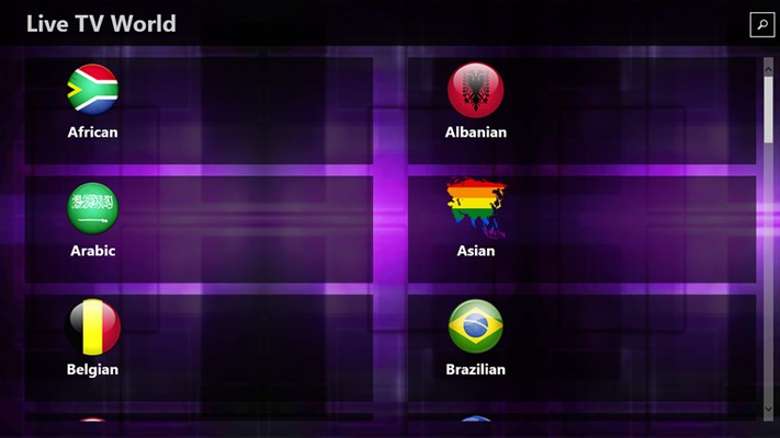 Starting of the App. Here you can see all the Channel Categories available.
