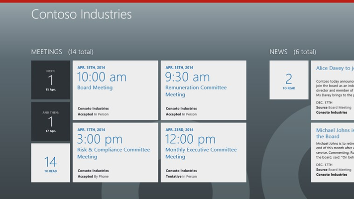 Quickly access upcoming meetings and more from the Home screen.