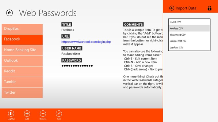 Imports your data from several popular password managers
