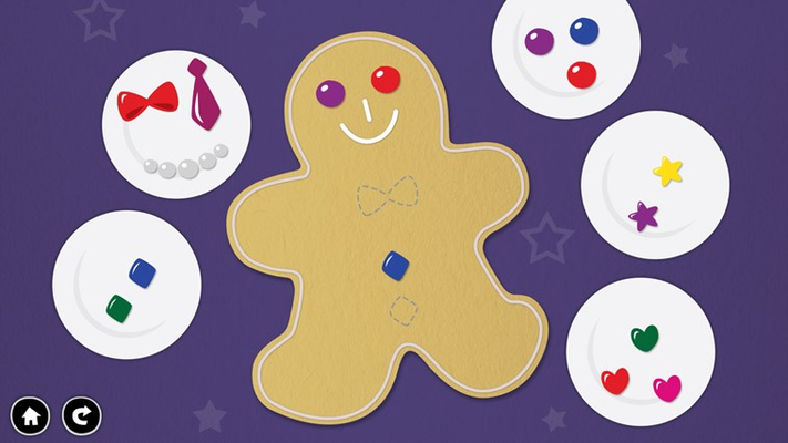 Help your child develop shape matching skills by decorating a gingerbread man!