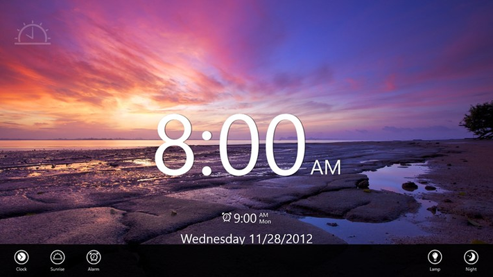 Quick access to change the Clock, Sunrise, and Alarm. Turn on the Lamp or put it into Night mode.