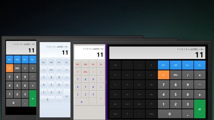 Basic calculator in snapped mode, scientific in landscape mode