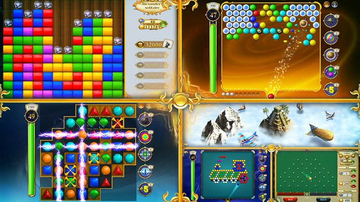 Many different mini-games such as Bubble Shooter, Snooker, Match 3, Cleopatra's and Einstein's casinos!