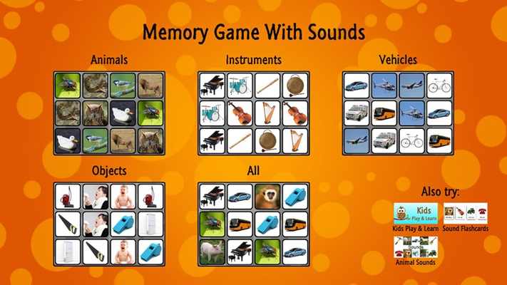 The main screen with game categories.