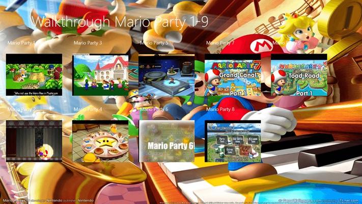 semantic zoom view of 9 Mario Party Games