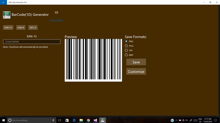 Linear barcodes (1D): CODABAR, CODE-39, CODE-128, ITF, MSI, UPC-A,EAN-13, EAN-8 and PLESSEY.