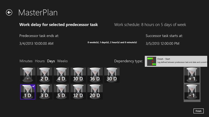 Defining time spans for task durations or lags between task dependencies is very convenient.