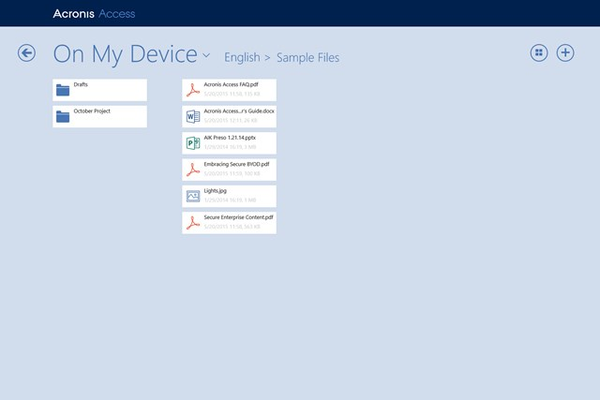 Securely browse files located on enterprise file servers, SharePoint servers, NAS, and Acronis Access servers
