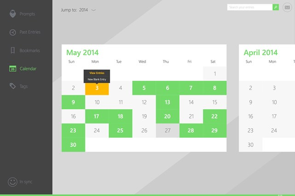 Calendar view of all your entries