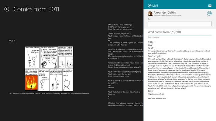 Every comic can be easily shared either as text or picture.