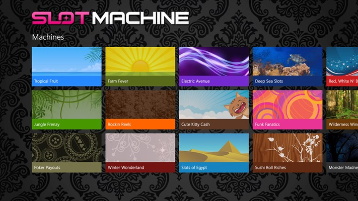 Slot Machine main screen with 17 different themed slot machines!